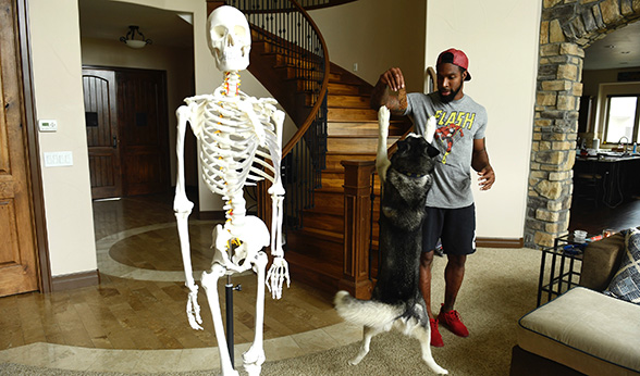 David Bruton with Fred the skeleton