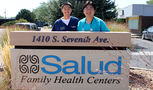 CU dental student Matthew Iritani and preceptor Dr. Petros Yoon