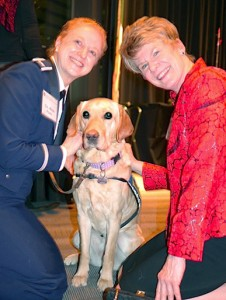 Dean Thompson Col Pearl and Waffle the VA therapy dog