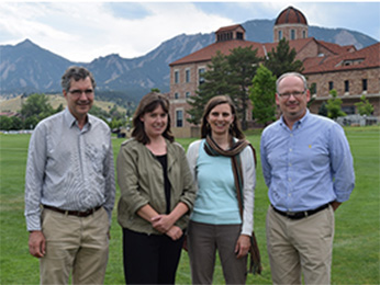 From the left: Diego Restrepo, Emily Gibson of CU Anschutz with Juliet Gopinath and Victor Bright of CU Anschutz.